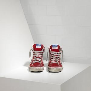 Women Golden Goose GGDB Slide In Pelle Red Suede Silver Star Sneakers