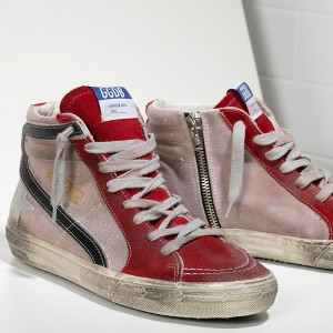 Women Golden Goose GGDB Slide In Pelle Red Suede Silver Star Sneakers