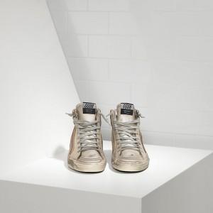 Women Golden Goose GGDB Slide In Pelle Silver Beige Suede Sneakers
