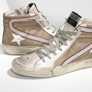 Women Golden Goose GGDB Slide In Pelle Silver Beige Suede Sneakers