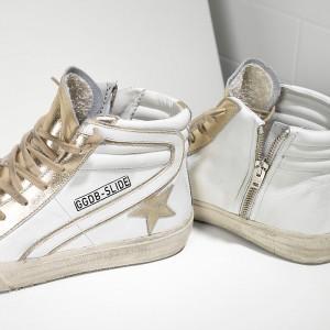 Women Golden Goose GGDB Slide In Pelle White Gold Star Sneakers