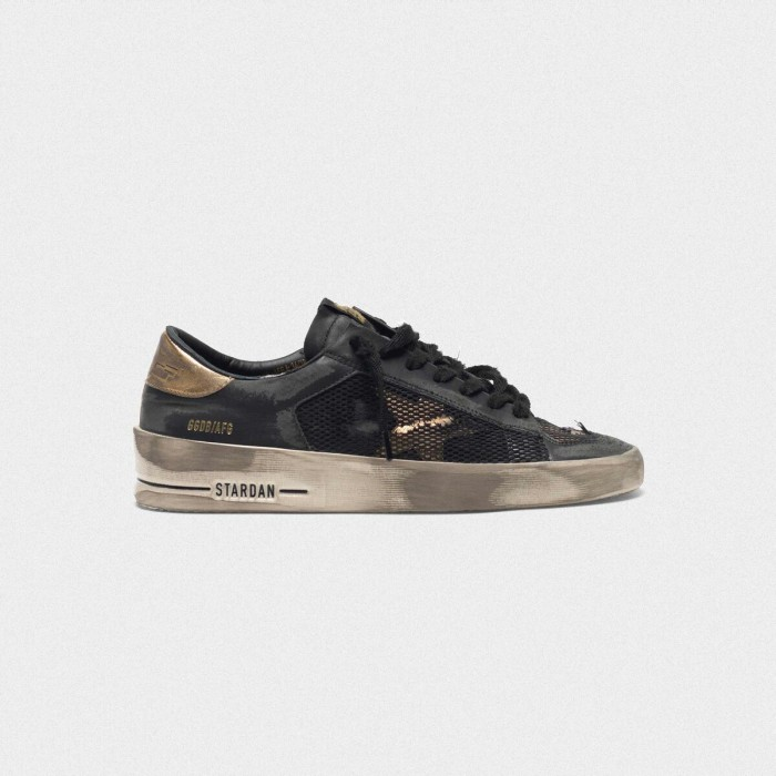 Women Golden Goose GGDB Distressed Black And Gold Stardan Ltd Sneakers