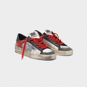 Women Golden Goose GGDB Distressed Black And Red Stardan Ltd Sneakers