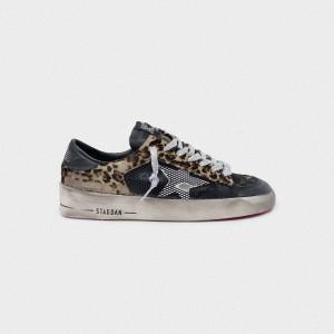 Women Golden Goose GGDB Leopard Print Stardan With Fuchsia Sole Sneakers