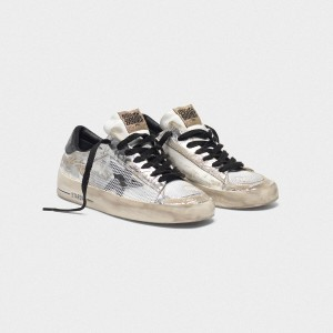 Women Golden Goose GGDB Stardan Ltd In Laminated Silver With Floral Design Sneakers