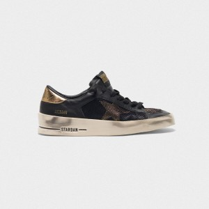 Women Golden Goose GGDB Stardan In Black And Gold Leather With Mesh Inserts Sneakers