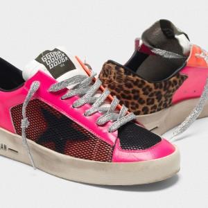 Women Golden Goose GGDB Stardan In Fluorescent Patchwork With Leopard Print Sneakers