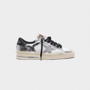 Women Golden Goose GGDB Stardan In Laminated Silver With Floral Design Relief Sneakers