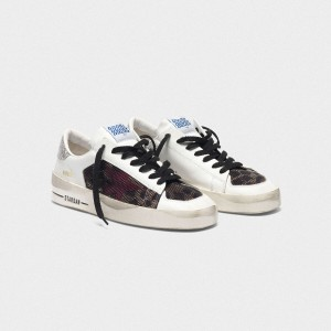 Women Golden Goose GGDB Stardan With Leopard Print Star And Glittery Sneakers