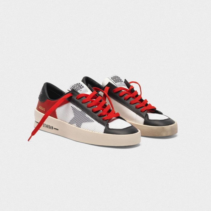 Women Golden Goose GGDB Stardan In Red And White Leather With Mesh Inserts Sneakers