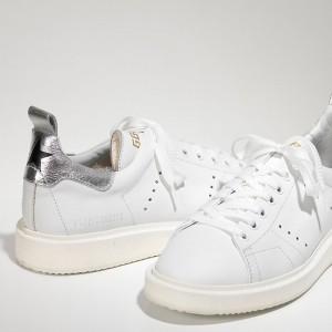 Women Golden Goose GGDB Starter In White Silver Sneakers