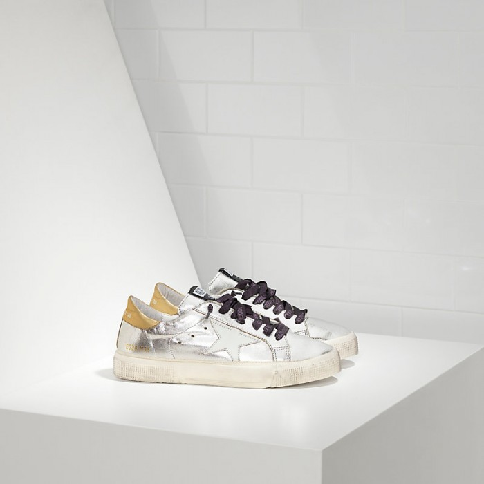Women Golden Goose GGDB May In Silver Gold White Star Sneakers