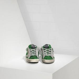 Women Golden Goose GGDB Superstar Emerald Green Glitte Sneakers