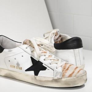 Women Golden Goose GGDB Superstar In Destroyed Zebra Sneakers