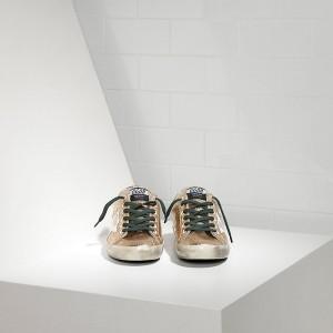 Women Golden Goose GGDB Superstar In Gold Glitter Emerald Sneakers