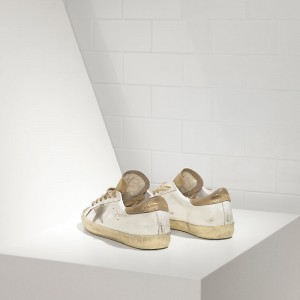 Women Golden Goose GGDB Superstar In Gold White Suede Star Sneakers