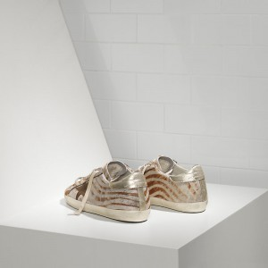 Women Golden Goose GGDB Superstar In Gold Zebra Sneakers