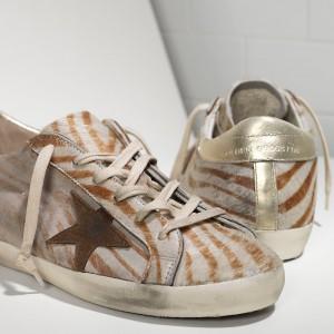 Women Golden Goose GGDB Superstar In Gold Zebra Sneakers