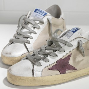 Women Golden Goose GGDB Superstar In Milk White Lilac Star Sneakers