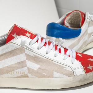 Women Golden Goose GGDB Superstar In Natural Canvas Flag Sneakers