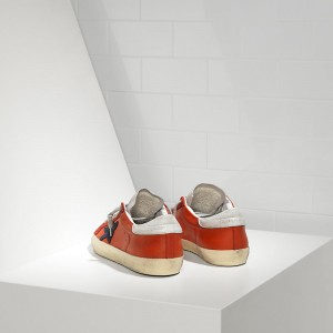 Women Golden Goose GGDB Superstar In Red Leather White Sude Sneakers