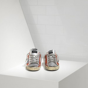 Women Golden Goose GGDB Superstar In Red Silver Leather Sneakers