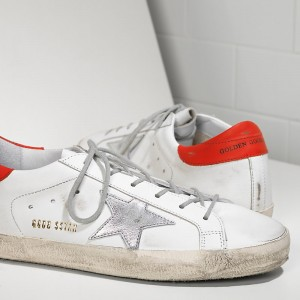 Women Golden Goose GGDB Superstar In White Leather Red Sneakers