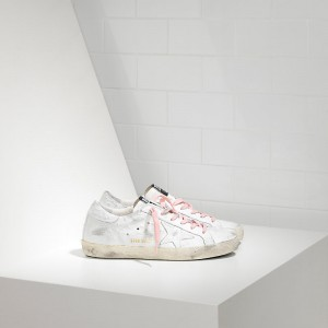 Women Golden Goose GGDB Superstar In White Pink Lace Sneakers
