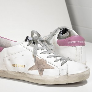 Women Golden Goose GGDB Superstar In White Purple Sneakers