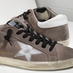 Women Golden Goose GGDB Superstar Leather In Mid Grey Suede White Sneakers