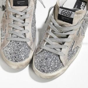 Women Golden Goose GGDB Superstar Shiny Silver Moon Sneakers