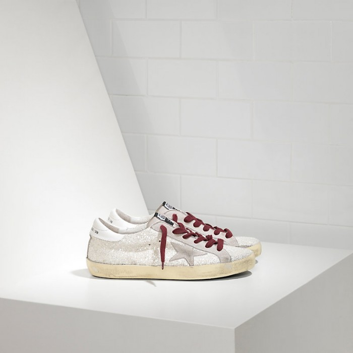 Women Golden Goose GGDB Superstar White Glitter Sneakers