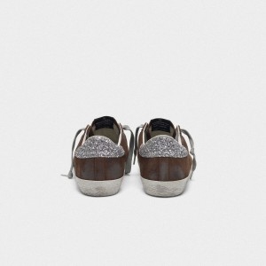 Women Golden Goose GGDB Suede Superstar With Glittery In Brown Sneakers