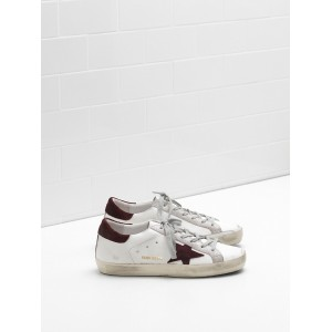 Women Golden Goose GGDB Superstar Calf Leather In Wine Star White Sneakers