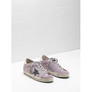Women Golden Goose GGDB Superstar Calf Suede Purple Black Logo Sneakers