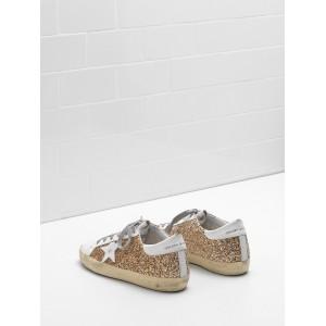 Women Golden Goose GGDB Superstar Flag Ltd Fabric Eyelets In Natural Golden Sneakers