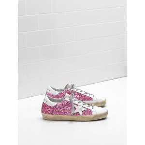 Women Golden Goose GGDB Superstar Flag Ltd Fabric Eyelets In Natural Rose Red Sneakers