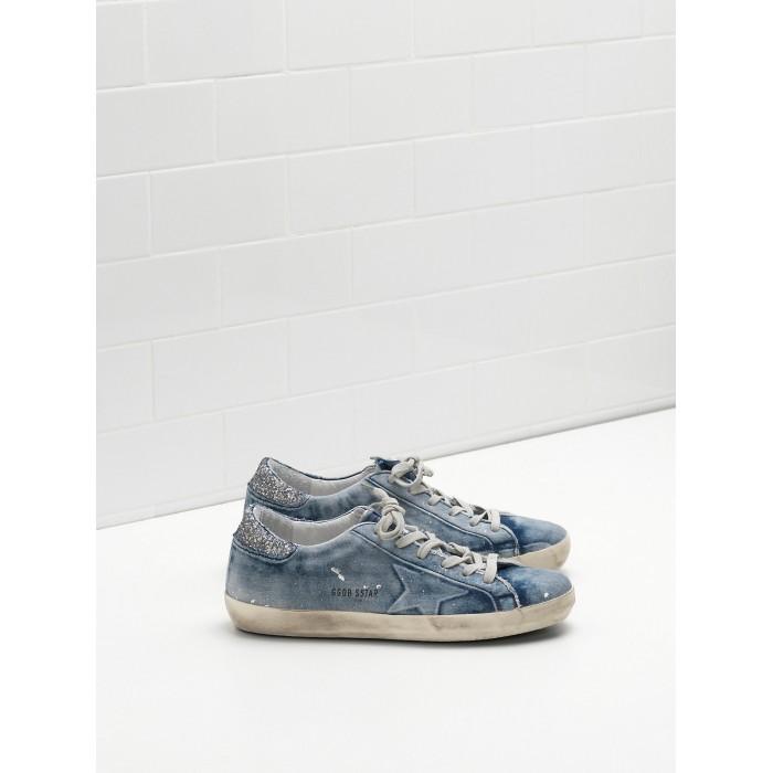 Women Golden Goose GGDB Superstar In Denim Blue Star Logo Silver Sneakers