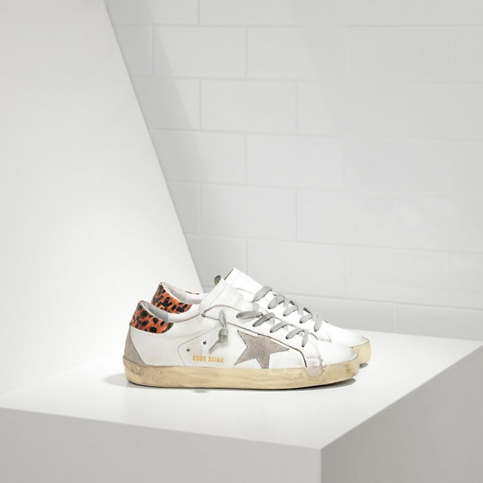 Women Golden Goose GGDB Superstar In Leather Star White Leopard Cream Sneakers