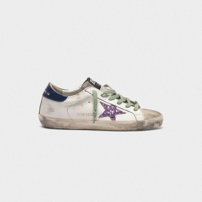 Women Golden Goose GGDB Superstar In Leather With Glittery Star Blue Sneakers