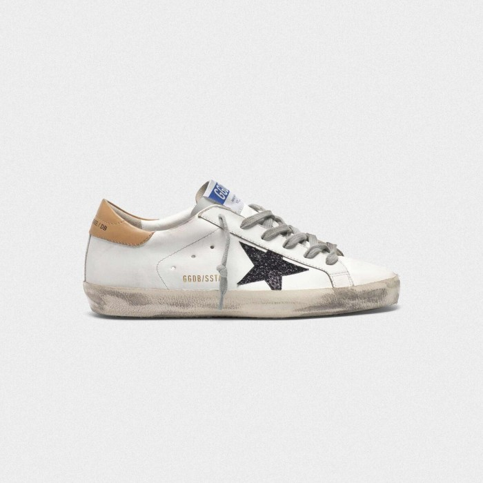 Women Golden Goose GGDB Superstar In Leather With Glittery Star Yellow Sneakers