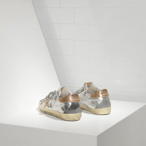 Women Golden Goose GGDB Superstar In Leather With Leather Star Silver Gold Sneakers