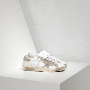 Women Golden Goose GGDB Superstar In Leather With Suede Star White Sneakers