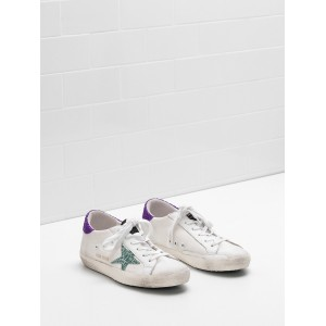 Women Golden Goose GGDB Superstar In Technical Mesh Glitter Coated Star Sneakers