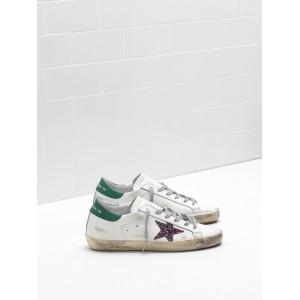 Women Golden Goose GGDB Superstar Leather Glitter Coated Star Purple Sneakers