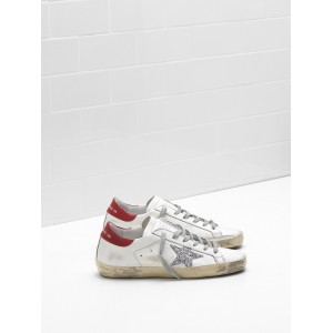 Women Golden Goose GGDB Superstar Leather Glitter Coated Star Red Sneakers