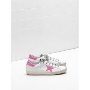 Women Golden Goose GGDB Superstar Leather Glitter Star Coated In Pink Star Sneakers