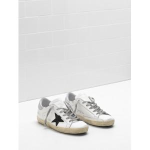 Women Golden Goose GGDB Superstar Leather Glitter Star In Black Sneakers
