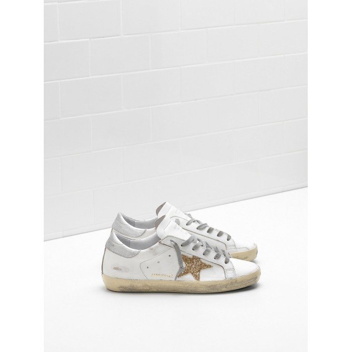 Women Golden Goose GGDB Superstar Leather Glitter Star In Golden Sneakers