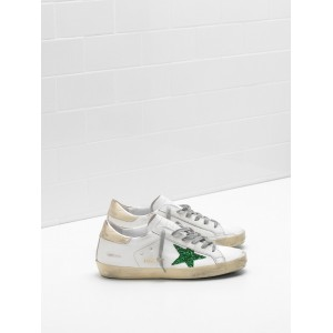 Women Golden Goose GGDB Superstar Leather Glitter Star In Green Sneakers